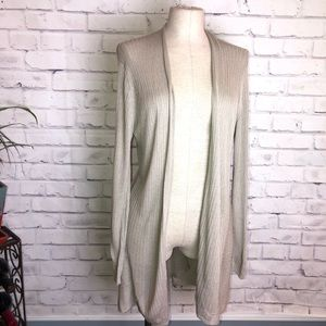Eileen Fisher Khaki /tan open knit cardigan